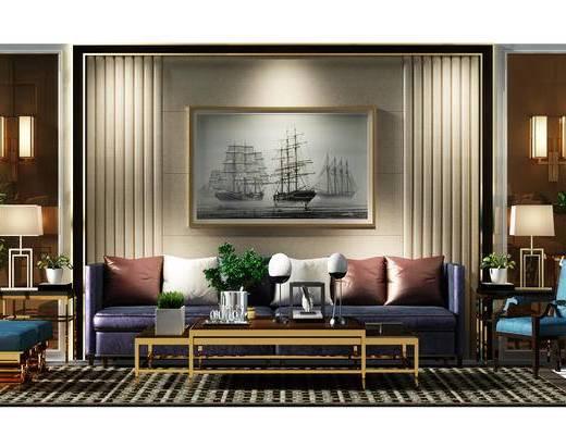 沙发背景墙, 背景墙, 盆景, 植物, 沙发椅, 椅子, 壁灯, 地毯, 后现代, 现代, 沙发组合