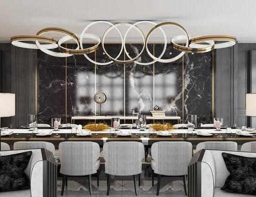 餐厅, 餐桌, 餐椅, 单人椅, 吊灯, 落地灯, 餐具, 后现代