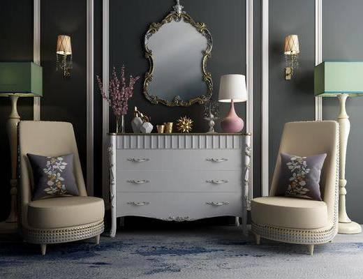 边柜, 壁灯, 台灯, 落地灯, 单人沙发, 装饰镜, 欧式
