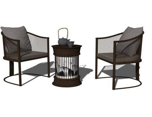 单人沙发, 单椅, 茶几, 摆件