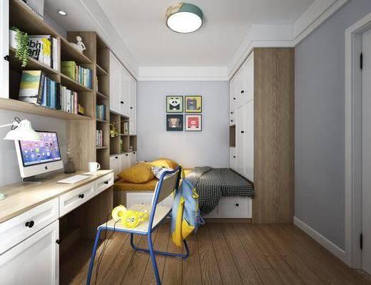 榻榻米, 卧室书房, 儿童房, 装饰柜, 书桌, 单人椅, 台灯, 书柜, 书籍, 墙饰, 装饰画, 组合画, 北欧