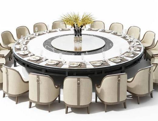 新中式, 圆桌, 餐桌, 椅子, 单椅, 摆件, 装饰品, 花瓶, 餐具, 刀叉