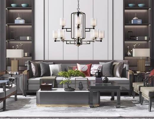边几, 单椅, 吊灯, 书柜, 摆件