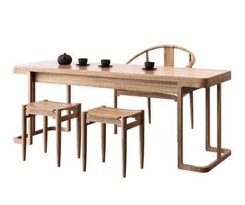 新中式茶桌, 茶桌, 桌椅组合