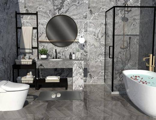浴缸, 马桶, 洗手盆, 壁镜