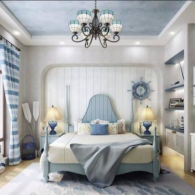 儿童房, 卧室, 浴室, 吊灯, 床, 床头柜, 台灯, 洗手台, 镜子