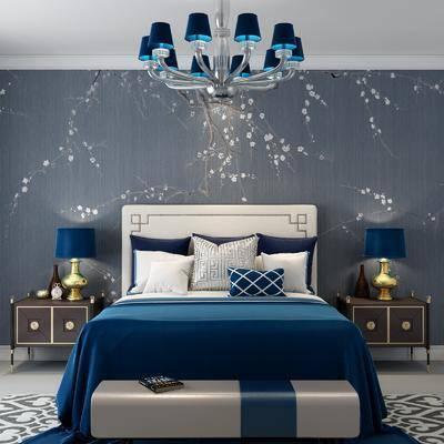 双人床, 床头柜, 台灯, 吊灯, 新中式