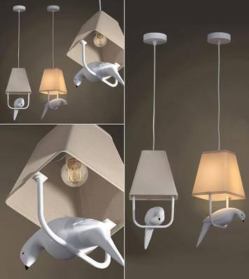 吊灯, 陶瓷, 小鸟, 现代