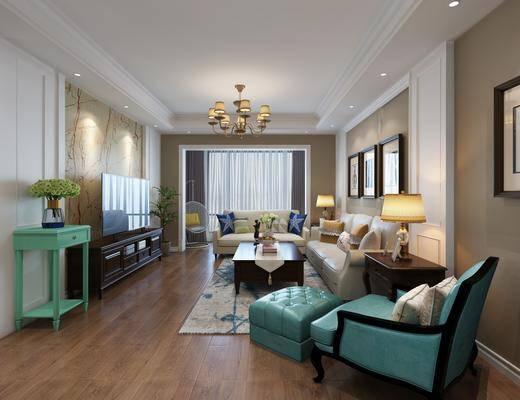 走廊过道, 客厅, 沙发组合, 茶几组合, 装饰画