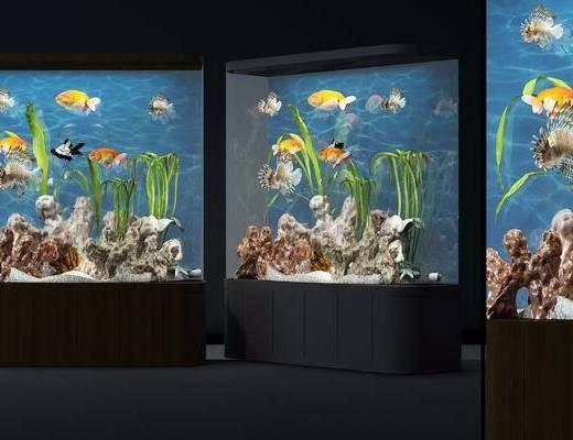 鱼缸, 金鱼, 假山, 海草, 现代