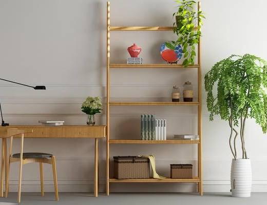 装饰架, 摆件, 书桌, 单人椅, 绿植, 盆栽, 现代