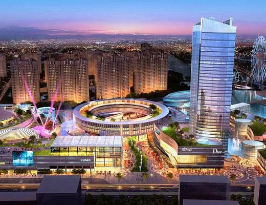 鸟瞰, 建筑, 夜景, 商业建筑, 商业, 景观