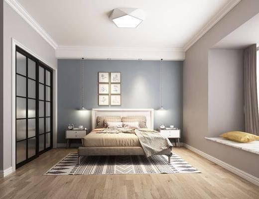 卧室, 双人床, 床头柜, 吊灯, 装饰画, 挂画, 照片墙, 推拉门, 北欧