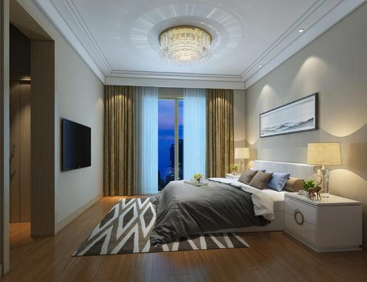 北欧, 卧室, 现代卧室, 床, 床头柜, 吊灯