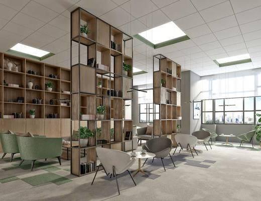 茶水区, 现代, 现代茶水区, 桌子, 单椅, 椅子, 书架, 置物架, 植物, 摆件, 装饰品
