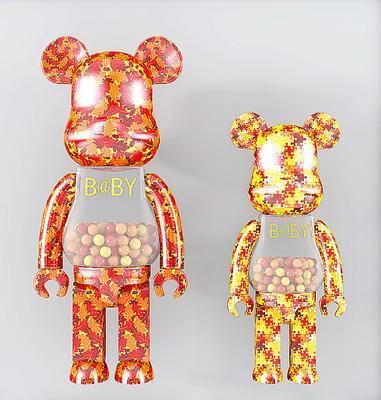 现代潮流积木熊, 装饰摆件, 暴力熊摆件