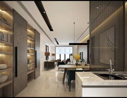 现代客餐厅, 沙发组合, 茶几, 餐桌椅, 装饰画, 置物柜架