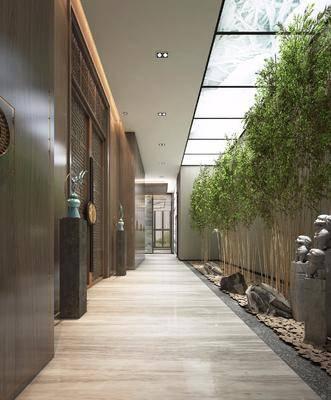 走廊, 过道, 新中式走廊, 竹子, 植物, 雕像, 石头, 端景台, 摆件, 新中式