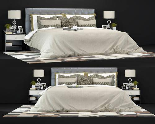 床具组合, 双人床, 床头柜, 台灯, 摆件, 装饰品, 现代