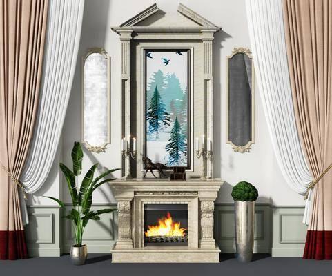 欧式壁炉, 壁炉, 背景墙