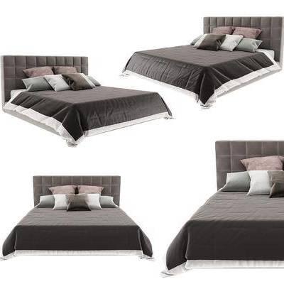 双人床, 现代床, 现代双人床, 纯色床, 现代