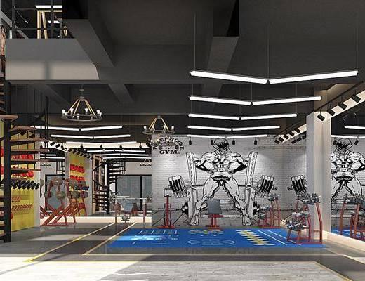 健身房, 健身器材, 健身室, 瑜伽墊, 瑜伽球, 休閑沙發組合, 樓梯, 吊燈組合, 工業風健身房