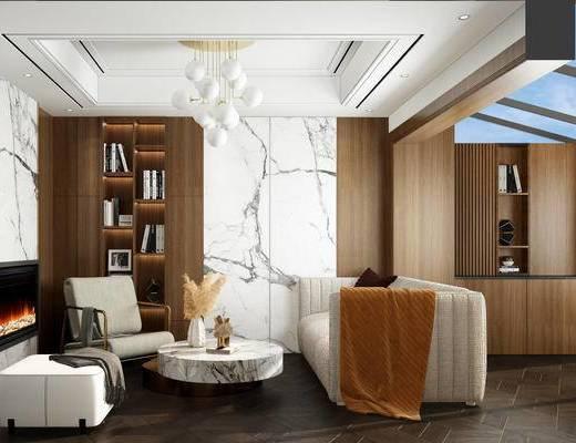 书柜, 书籍, 茶几, 花瓶, 吊灯, 沙发组合, 单椅