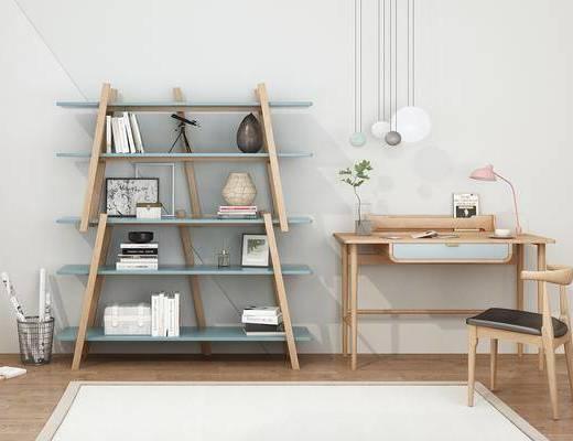 实木书桌, 书架, 书桌, 单人椅, 吊灯, 台灯, 装饰品, 陈设品, 摆件, 北欧