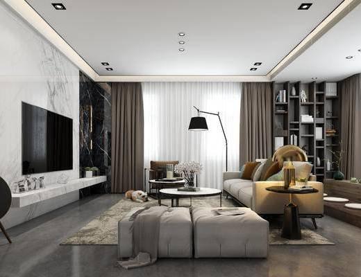 现代客厅, 客厅, 沙发组合, 现代沙发