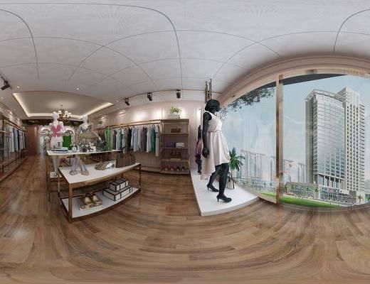 现代, 服装店, 服饰, 衣服, 售货架, 衣架