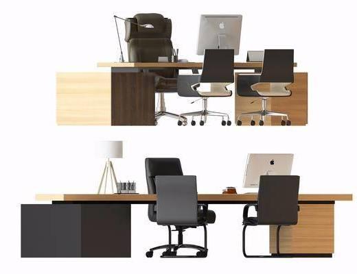 办公椅, 办公桌, 单人椅, 台灯, 电脑, 现代