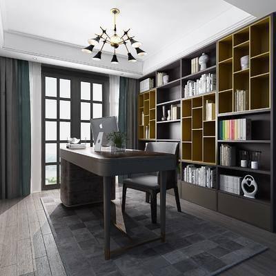 书房, 现代, 书柜, 书桌椅, 椅子, 吊灯