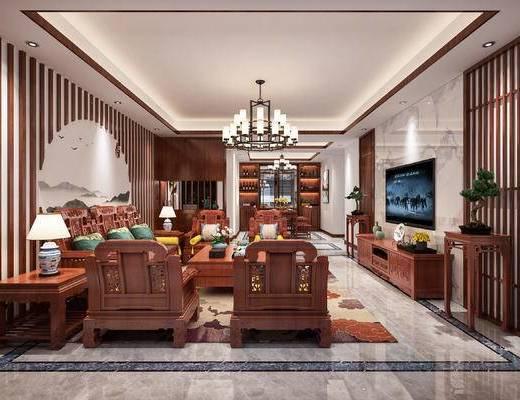 中式客餐厅, 餐桌椅, 吊灯, 挂画, 电视柜, 实木茶几, 实木沙发