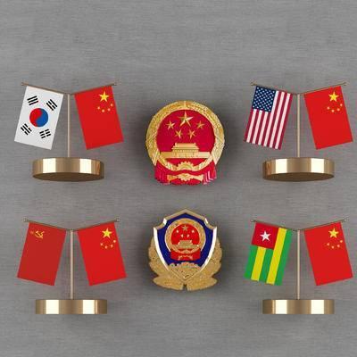 国旗, 国徽, 警徽, 办公摆件