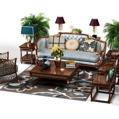 多人沙发, 单人沙发, 单人椅, 茶几, 摆件, 台灯, 绿植, 美式