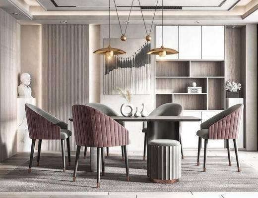 现代餐厅, 餐桌, 餐椅, 吊灯, 装饰画