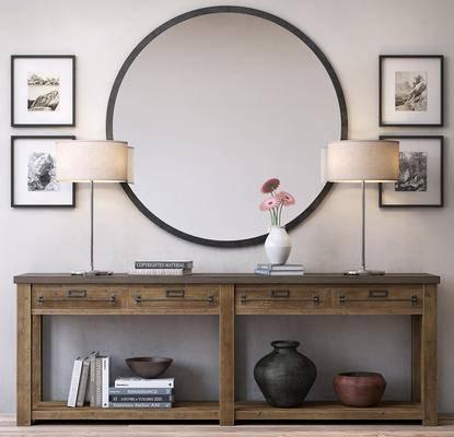 端景台, 装饰镜, 挂画, 花卉, 书籍, 瓷器, 装饰灯, 摆件, 摆件组合, 现代