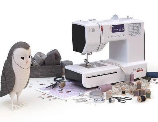 现代缝纫机, 针线, 纽扣, 剪刀