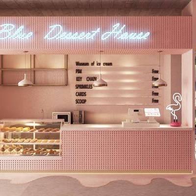甜品店, 蛋糕店, 收銀臺, 前臺, 北歐甜品店, 展示柜, 桌椅組合