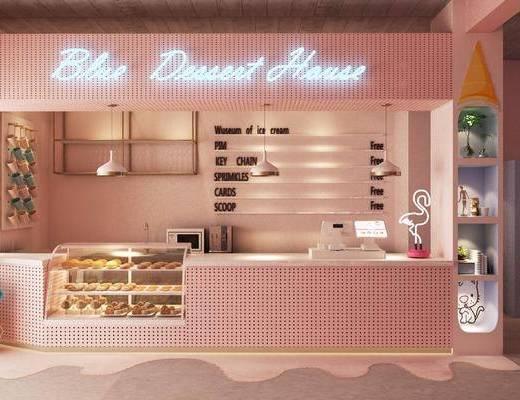 甜品店, 蛋糕店, 收银台, 前台, 北欧甜品店, 展示柜, 桌椅组合