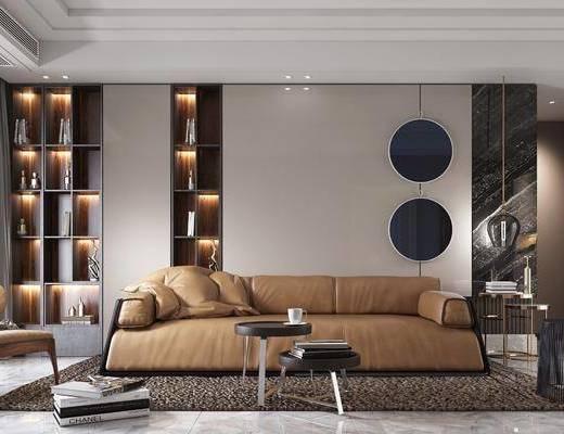 客厅, 沙发组合, 沙发茶几组合, 装饰柜组合, 现代轻奢