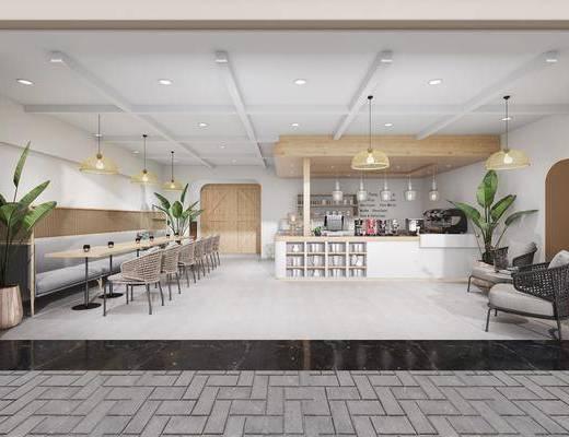 甜品店, 餐桌, 餐椅, 單人椅, 餐具, 門面門頭, 前臺, 吊燈組合, 單人沙發, 盆栽, 綠植植物, 樹木, 休閑沙發椅, 現代