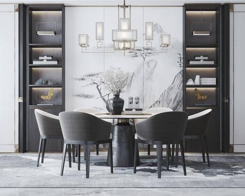 桌椅组合, 吊灯, 置物柜, 背景墙