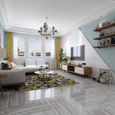 北欧客厅, 客厅, 沙发, 北欧吊灯, 转角沙发, 电视柜