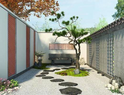 庭院景观, 花园庭院, 树木, 绿植植物, 花卉, 中式