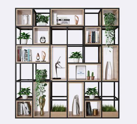 鐵藝書架, 裝飾架, 盆栽, 綠植植物, 擺件組合, 北歐