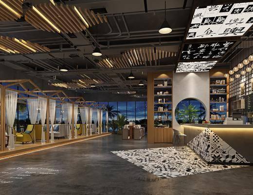 咖啡厅, 多人沙发, 茶几, 单人沙发, 吧台, 吧椅, 单人椅, 装饰柜, 盆栽, 绿植植物, 摆件, 装饰品, 陈设品, 吊灯, 工业风