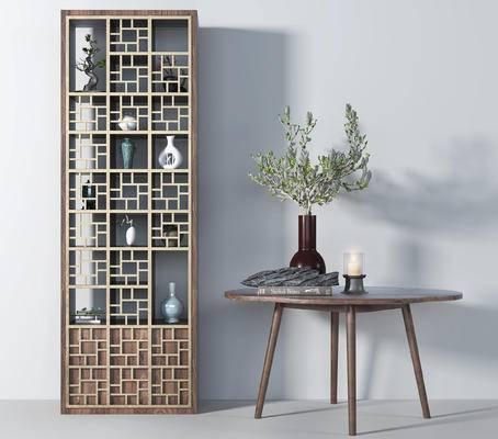 博古架, 置物柜, 端景台, 摆件, 盆栽, 花瓶, 茶几
