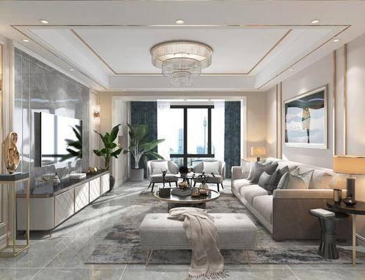 现代客餐厅, 客厅, 餐厅, 沙发组合, 沙发茶几组合, 边柜组合, 餐桌椅组合, 摆件组合, 盆栽, 绿植植物, 吊灯组合, 现代轻奢