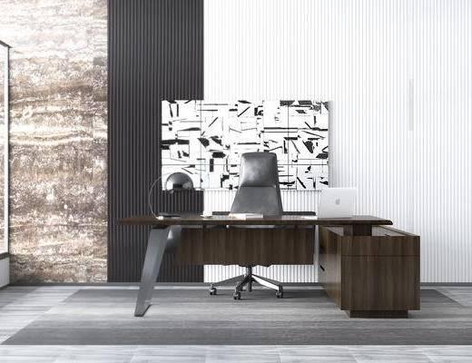 班台, 经理桌, 背景墙, 办公桌
